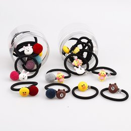 Wholesale Silicone Animal Bands - Baby Girls Hairbands Cute Cartoon Animals Hair rope Kids Plush Ball Silicone Pendant Headrope Rubber Bands Free DHL A725