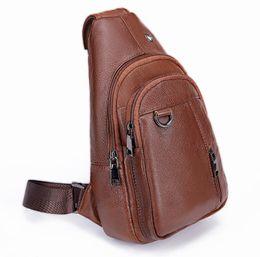 785959085408a Echtes Leder Herren Brusttasche Herrentasche Multifunktions-Outdoor-Schulter  geschlungen Rucksack Reißverschluss Casual Sling Crossbody-Tasche