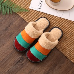 56d96701401 2018 Genuine Leather Home Slippers High Quality Women Men Slippers Plush  Warm Indoor Shoes Non-slip Winter flat Large Size 35-44