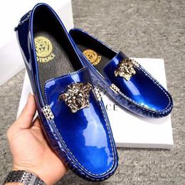 91bab60e Nueva marca de holgazanes de charol de los hombres zapatos casuales Slip On  Leisure hombres de conducción Penny mocasines de alta calidad de los  zapatos ...