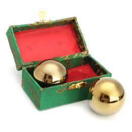 Pelota de terapia online-2 Unids / set Metal Ejercicio Mano Muñeca Sólido Dorado Baoding Ball s Terapia de Ejercicio de la Salud China Estrés Masajeador Bolas 42mm