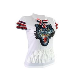 Sexy pailletten t-shirts online-Bogen-Tiger-Kopf-Pailletten-Lotusblatt-Hülsen-T-Shirt der Sommer-Europa-Art-reizvollen Frauen 2018 Freies Verschiffen