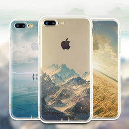 Wholesale Coloured Drawing - For Apple iphone 8 plus 7 plus 6S SE silicone coloured drawing case landscape Plating TPU Clear cell phone cases