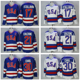 Wholesale Blue Year - 1980 USA Hockey Jersey Team 30 Jim Craig Jerseys 21 Mike Eruzione 17 Jack O'Callahan Callahan Blue White Year Miracle On Olympics Stitched