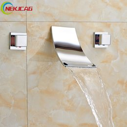 Wholesale Bath Taps Wall Mounted - Modern Wall Mount Polished Chrome Waterfall Bath Tub Sink Faucet Dual Handle Brass Washbasin Mixer Taps