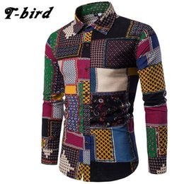Wholesale Flax Dress Xl - T-Bird Brand-Clothing 2017 Fashion Shirt Male Flax Dress Shirts Slim Fit Turn-Down Men Long Sleeve Mens Hawaiian Shirt Big Sizes