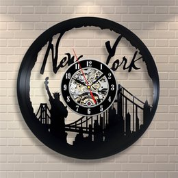 2019 new york dekorationen New York, USA Vinyl Wanduhr moderne Wohnkultur Persönlichkeit Wohnzimmer Dekoration kreative Halloween Weihnachtsgeschenke für Männer und Frauen günstig new york dekorationen
