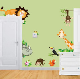 Wholesale Growth Chart Monkey - Free Shipping Elephant Lion Monkey Giraffe Cartoon Wall Stickers For Kids Room Animal Funny Children Vinyl Stickers Home Decoration
