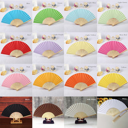 Wholesale teacher gifts free shipping - DIY Paper Folding Fan, Wedding Favors Gift Bride Hand Craft Fan with bamboo ribs Candy Color Drawing Fan+DHL Free Shipping