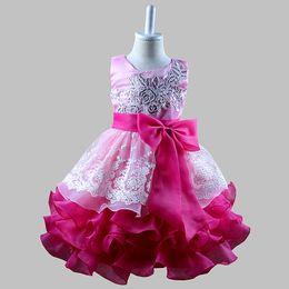 Meilleures robes d'anniversaire pour filles en Ligne-Meilleur Cadeaux pour Filles Broderie sequin Dentelle Fleur Robes couches TUTU robe Princesse Filles Fête d'anniversaire robe de soirée Robe en tulle D17
