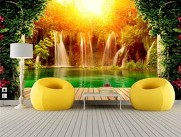 Wholesale Photo Print Paper Sizes - Customized Size 3D Non-woven Photo Wallpaper Waterfall Natural Landscape Background Wall Mural Living Room Bedroom Wall Paper
