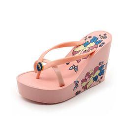 синие клиновые сандалии Скидка 2018 новая мода сандалии шлепанцы Клин толстой подошвой туфли на платформе на высоком каблуке сандалии тапочки нескользящей женская обувь черный розовый красный синий