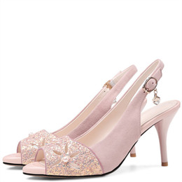 Wholesale Diamond Pearl Wedding Shoes - wholesale Pink Fashion Sexy Peep Toe Sandals Black Apricot White Party Ball Pumps Pearl Open Toe Diamonds High Heeled Shoes 2018