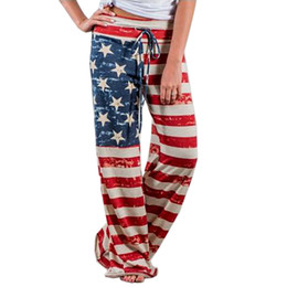 american flags pants wholesale Promo Codes - American Flag Print Women Long Pants Trousers Female Sexy Loose Waist Tie Track Pants Flag Of The United States