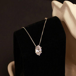 Wholesale gif heart - Silver Single Drill Necklace High Quality Heart Women s Pendants Hip Hop Jewelry Collarbone Chain Temperament Birthday gift Mother Day Gif