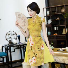 Vestido oriental vintage on-line-Curto Qipao Cheongsams Vestido Chinês Tradicional Vestido Plus Size Verão Flores Vintage Oriental Robes Hot 2017