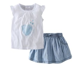 Wholesale Girls Heart Skirt - Baby girls love heart letter printed falbala fly sleeve T-shirts+Bows elastic denim skirts 2pcs sets toddler kids cotton outfits Y5188