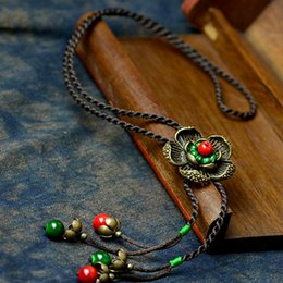Wholesale Jewelry Hanging Rope - whole salelong maxi vintage necklace women bronze flower pendant rope red natural stone hanging fashion jewelry 2017 hot offer