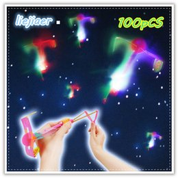 Wholesale Fun Bow - 40Pcs   lot flash harness slingshot children's toys LED lights slingshot flying arrows bow outdoor toys children's fun gift