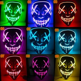 2019 costumes sombres pour halloween Masque d'Halloween LED Light Up Funny Masques Les Purges Année D'élection Grand Festival Cosplay Costumes Fournitures Masques De Fête Glow In Dark MMA510 promotion costumes sombres pour halloween