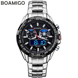 Reloj de la marca boamigo online-BOAMIGO marca hombres relojes deportivos analógico digital doble pantalla LED relojes de cuarzo relojes de pulsera de acero a prueba de agua relogio masculino