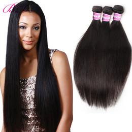 Extensiones de cabello peruano negro online-Nueva Llegada Straight Human Hair Extensions Bundles Visón Peruvian Virgin Hair Weave Con Regalo Para Mujeres Negras