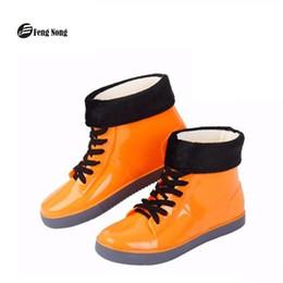 e870cf7e91a botas de borracha coloridas Desconto Feng Nong colorido botas de chuva  sapatos baixos à prova d