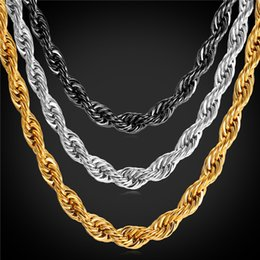 Wholesale Statement Chains - U7 Statement Rope Chain Necklace Bracelet 9MM Men Jewelry 18K Gold Plated Stainless Steel African Ethiopian Jewelry Set Accessories GN2179