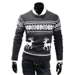 Wholesale Trendy Winter Sweaters - 2015 Top quality Autumn Winter Slim Round Neck mens sweaters Stylish Trendy sweater The deer pattern Pullover Sweater