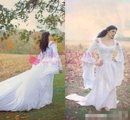 2019 el vestido de boda se cierra hacia arriba 2019 Renacimiento campana vestido de novia de manga completa de encaje barrido tren por encargo celta medieval vestido de novia