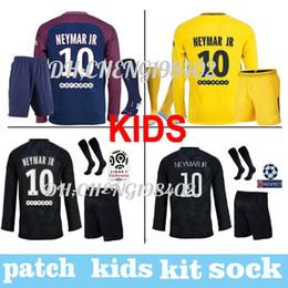 Wholesale Paris Kids - Paris 2017 2018 soccer jerseys kids kit long sleeve sets Maillot de foot MBAPPE CAVANI NEYMAR JR DANI ALVES patches football shirt uniforms