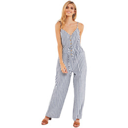 ee80c6c2c704 2018 Women Summer Fashion V Collar of Sling Belt Stripe Jumpsuits Casual  Pants Office Lady Work Wear Loose Pants Trousers