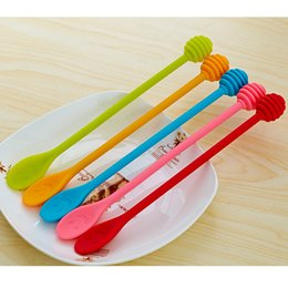 Wholesale Wholesale Honey Spoons - Silicone Stirring Spoon Creative Scoop Smiling Face Honey Long Handle Rod Safety Innocuity Dual Purpose Hot Sale 3 2yk V