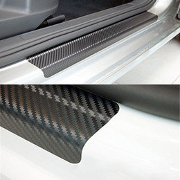 Wholesale mercedes plates - Universal 4Pcs Set Car Door Plate Sill Scuff Cover Protection Anti Scratch Carbon Fiber Auto Door Plate Sticker with Scraper Car Styling