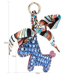 Wholesale metal handmade car - Fashion Cute Women's Bag&Car Pendant High-end Handmade Scarf Leather Handbag Key Chains Tassel Rodeo Crystal Horse Bag Charm