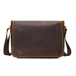New crazy horse genuine Leather Series Messenger Bag For Men Bag Genuine  Leather Shoulder Bags Cross Body Bags Vintage Satchel f556035dd59bc