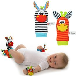 Wholesale Branded Soft Toys - 100pcs lot Sozzy Zebra Baby bebe Infant Wrist and Socks Rattle Bell Foot Finders Set Educational Soft Christmas Gift Toys for Children