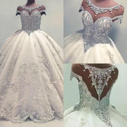 Luxus kristall pailletten online-Neueste Spitze Kristalle Kurzarm Brautkleider 2019 Ballkleid Brautkleid Charming Luxury Pailletten Glamorous Ballkleid