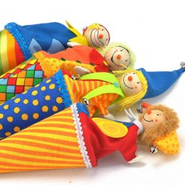 Wholesale Toys Clown Doll - Cute Clown Pop Up Puppets Kid Toys Colourful Wooden Telescopic Stick Doll Toy New Arrive 14my W
