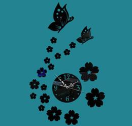 relógios de flores de acrílico Desconto 3d flor e borboleta relógio de parede acrílico diy relógio de parede para home living room decoração diâmetro 13 cm