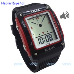 Wholesale Plastic Blinds - Newest Spanish Talking Watch for the Blind and Elderly Electronic Sports wristwatches 829TS