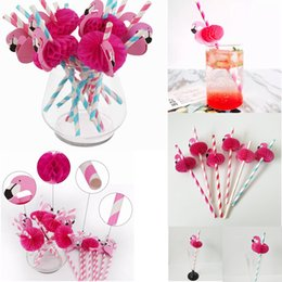 Wholesale pink flamingo party - Pink Flamingo Paper Drinking Straws Cocktail Beach Party Wedding Tableware Kid Birthday Party Decor FFA282 6COLORS Other Baby Feeding