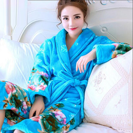 acf567219c Korean Women Bathrobe Kimono Bath Robe Female Thick Coral Fleece Pajamas  Femme Sleepwear Nightwear Home Clothes Dressing Gowns