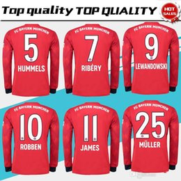 22e60c7c0 Long sleeve Bayern Munich home Soccer Jersey 18 19  11 JAMES red Soccer  Shirt 2019  25 MULLER  9 LEWANDOWSKI  6 THIAGO football uniform 3XL