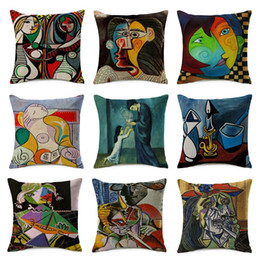 Wholesale Picasso Print Abstract - Picasso Abstract Art Cushion Cover Oil Painting Girl Cry Thin Linen Cotton Pillow Cover Wholesale 45X45cm Bedroom Decoration