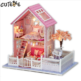 Wholesale Blossom Toys - Wholesale-CUTEBEE Doll House Miniature DIY Dollhouse With Furnitures Wooden House Cherry Blossom Toys For Children Birthday Gift A036