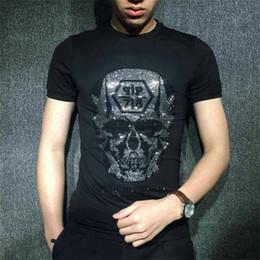 Wholesale Skull Top Plus Size - Designer T Shirts Mens T Shirt Summer New Brand Tide Casual Shirts Street Wear Top Crew Neck Skull Short Sleeve Plus Size M-5XL