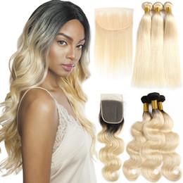 2019 12-дюймовый малайзийский переплет 1b 613 объемная волна 613 блондинка связки с фронтальной бразильской девственницы человеческих волос связки с закрытием прямые Реми наращивание волос