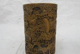 chinesisch geschnitzte vase Rabatt Chinese Folk Bronze geschnitzt zwei Drachen fliegen Wolke Retro Bleistift Vase Pinsel Topf ein (5.19)