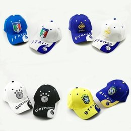 Wholesale Nationals Hats - 2018 Russia World Cup Souvenir Team Germany France Brazil National Team Sun Flare Hat German Hat
